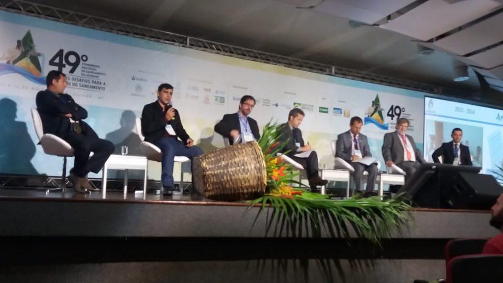 """Thimóteo Lima, o segundo da esquerda para a direita, em sua participação no painel """"O Papel da Regulação para a Universalização do Saneamento"""""""